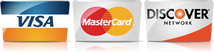 We accept Visa, MasterCard, and Discover Credit Cards
