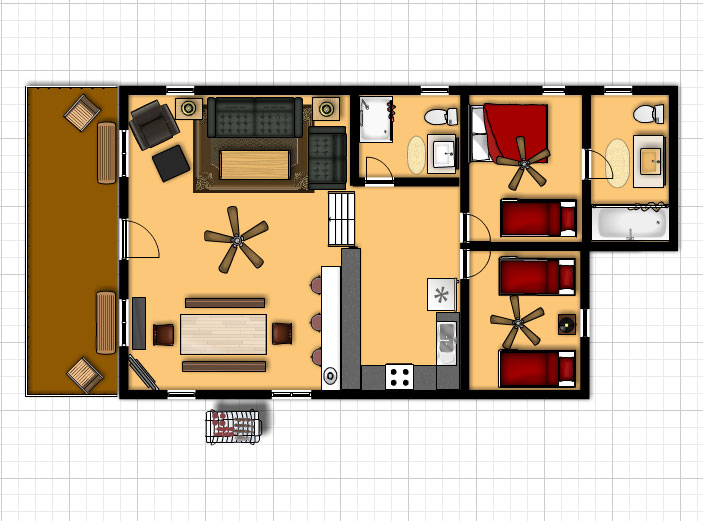 Waterfront Bay cabin room layout